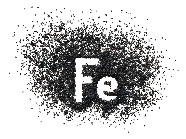 Chemical element – Fe. The word Ferrum in abbreviated form is written in black sesame seeds on a white background. The concept of healthy eating, iron, vegetarianism and metabolism.